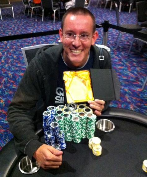 David with all the chips after winning the Main Event